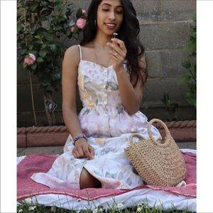 H&M floral linen blend button dress bloggers fav